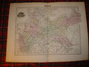 Antique Prussia Germany Migeon Map Berlin Art Vignette