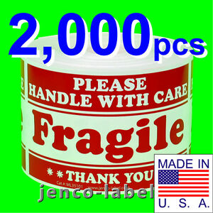 Ml35101 2 000 3x5 Handle With Care Fragile Label sticker