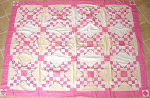 Pink White Touching Stars Antique Quilt Top C 1930s