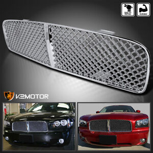 For 2006 2010 Dodge Charger Chrome Abs Mesh Front Upper Bumper Grill Hood Grille
