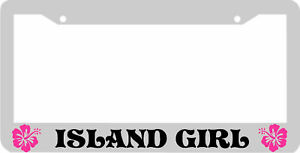 Island Girl Pink Hisbiscus Flower License Plate Frame