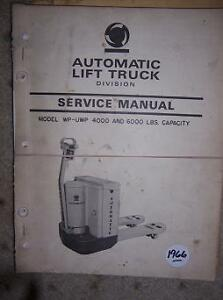 1966 Automatic Fork Lift Truck Manual Wp Uwp Electric F