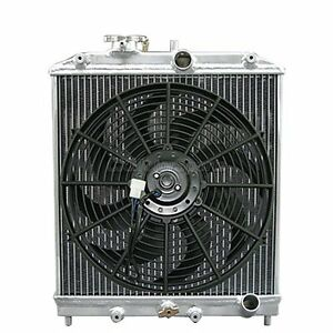 3 Rows Aluminum Radiator 12 Fan Cap For 92 00 Honda Civic Del Sol B16 B18