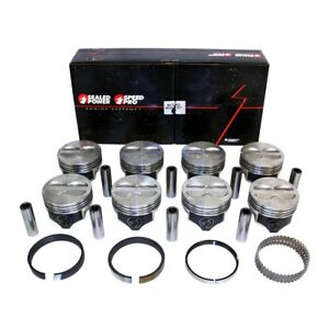 Chevy 400 Flat Top Pistons Moly Rings Kit 040 Sbc 408