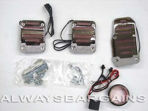 Megan Chrome Neon Light Racing Pedals In Red Manual Universal All