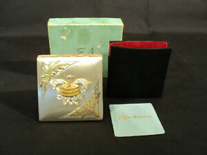 Vintage Elgin American Sterling Silver Birthday Club Ladies Compact W Box