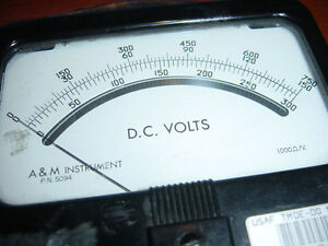 Dc Voltage Meter Volt A M Instrument P n 5094 Vintage 0 To 750 Bakelite Used