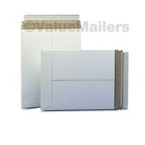 100 9 75x12 25 C White Rigid Photo Mailers Self Seal Stay Flat Stayflats 028