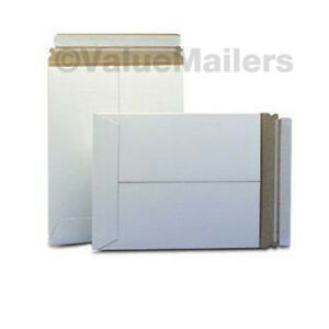 100 9x11 5 C White Rigid Photo Mailers Self Seal Stay Flat Stayflats 028