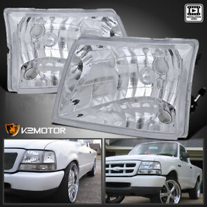Fit 1998 2000 Ford Ranger Crystal Chrome Headlights Head Lamps