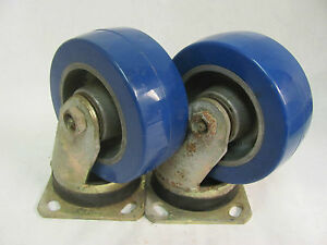 Lot Of 2 Bassick Sw J 5 Swivel Top Plate Casters 16092 5 Poly Wheels