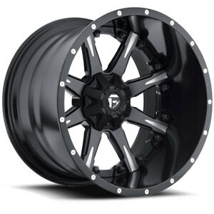 20 Fuel Offroad Nutz 2 Piece Wheel Set Black Milled 20x9 Rims Ford Chevy