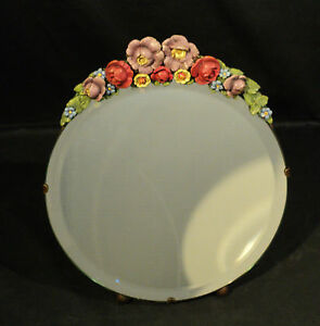Large 1930 S English Cabbage Rose Barbola Dressing Mirror W Easel Back