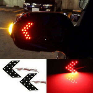 2 Red 14 Smd Led Arrow Lights For Car Side Mirror Turn Signal Blinker Retrofit