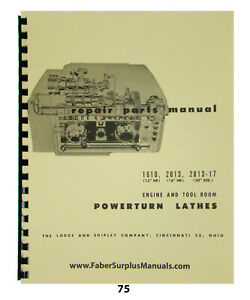 Lodge Shipley Powerturn Lathe Repair Part Manual No 1610 2013 2013 17 75