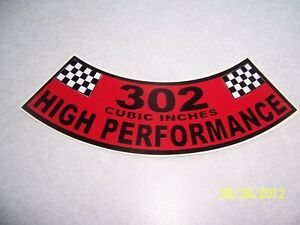 1 302 Cubic Inches High Performance Air Cleaner Cover Sticker new Vinyl