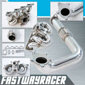 B16 B18 B20 Ram Horn T3 T3 T4 Stainless Steel Turbo Manifold 2 5 Downpipe Dp