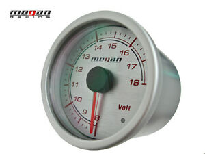 Megan Racing Volt Voltage Ratio Meter 52mm Silver Gauge Led Lamps Mr Mg Vt