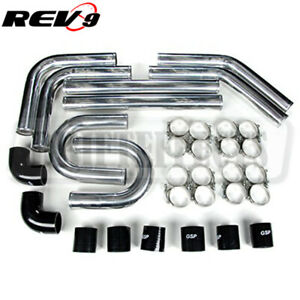 3 0 Universal Aluminum Intercooler Turbo Piping Pipe Kit Silicone clamp Black