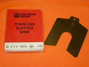 Nos Precision Brand Stainless Slotted Shim Box Of 20 4 X 4 003 Ga 42415