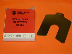 Nos Precision Brand Stainless Slotted Shim Box Of 20 4 X 4 010 Ga 42430