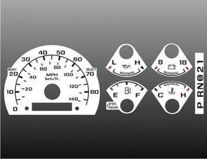 1992 1996 Ford Truck No Tach Dash Cluster White Face Gauges 92 96