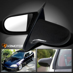 For 1996 2000 Honda Civic Ek Real Carbon Fiber Spn Side Mirrors Manual Pair