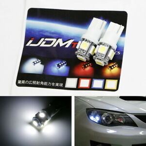 2 Hid White 5 Smd T10 Led Bulbs For Car Parking Position Lights 2825 168 194