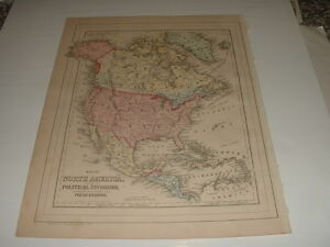1884 S Augustus Mitchell S Map North America With Political Divisions Plus