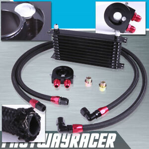 10 Row Oil Cooler Kit 3 4x16 Unf Oil Filter Sandwich Plate Fitting Thermostat Bk