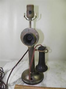 Antique Western Electric Company Brass Candle Stick Phone Lamp