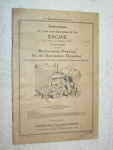 Ih Mccormick deering No 61 Harvester Thresher Engine Care operating parts Manual