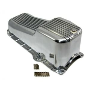 80 85 Sbc Chevy Retro Finned Polished Aluminum Oil Pan 305 350 5 7 Small Block