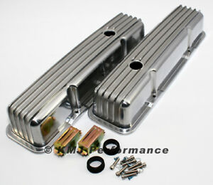 58 86 Sbc Chevy 350 Retro Finned Polished Aluminum Tall Valve Covers 327 400