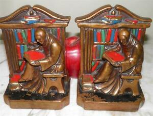 Antique Arts Crafts Bronze Clad Painted Figural Monk Bookends Art Statue