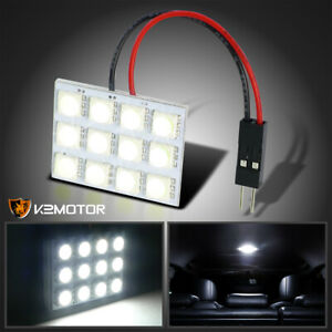 12 Smd 1210 White Led Dome Light Panel Car Interior T10 Ba9s Adapter