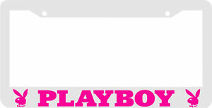 White Pink Playboy License Plate Frame