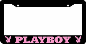 Black Pink Playboy License Plate Frame