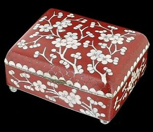 Antique Chinese Cloisonne Jewelry Tobacco Box Red Enamel White Cherry Blossoms