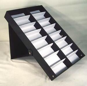 2 Vertical Portable Sunglass Covered 16 Pair Display Tray Standup Eyeglass Rack