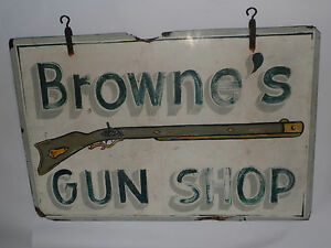 Vintage Hand Painted 2 Sided Nc Wood Gun Shop Store Sign Musket 3 X 2 Old
