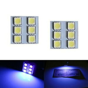2 Uv Purple 6 Smd Led Panel Lamps For Car Interior Map Dome Cargo Area Lights