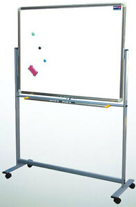 36 X 72 Reversible Roll Around Standing Magnetic Dry Erase Board W pens Eraser