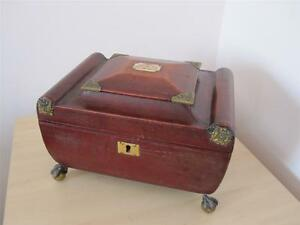Georgian C 1815 1825 Red Leather Jewellery Box Rare