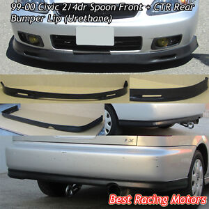 Spn Style Front Ctr Rear Bumper Lip Urethane Fit 99 00 Civic 2dr