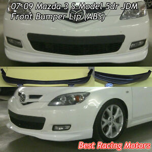 Type R Style Front Bumper Lip Abs Fits 07 09 Mazda 3 5dr Hatch