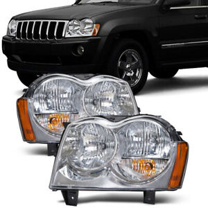 Headlights Chrome Pair Left Right Set Fits 05 2007 Jeep Grand Cherokee