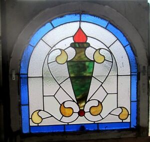 Beautiful Antique American Stained Glass Window Arched Architectural Salvage