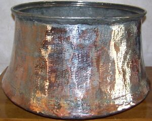 18 X12 Handhammered Antique Partially Tin Coated Turkish Copper Boiler Planter