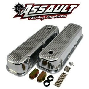 65 95 Chevy 454 Finned Polished Aluminum Tall Valve Covers Big Block 427 396